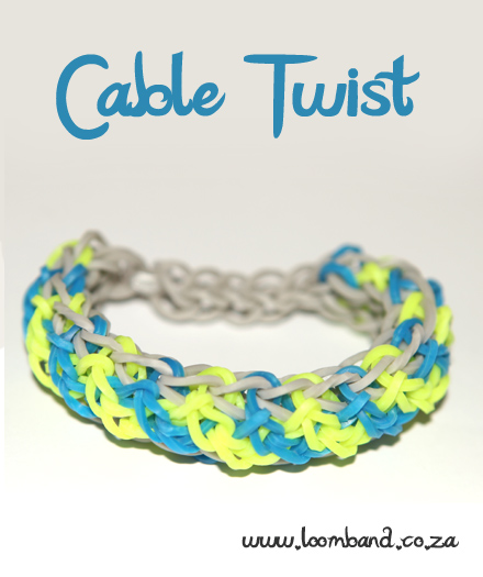 Cable twist loom band bracelet tutorial