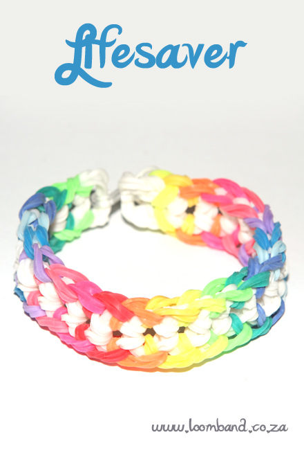 Lifesaver loom band bracelet tutorial