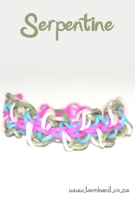 Serpentine loom band bracelet tutorial