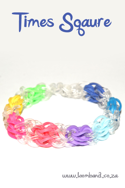 Times square loom band bracelet tutorial