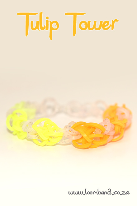 Tulip tower loom band bracelet tutorial