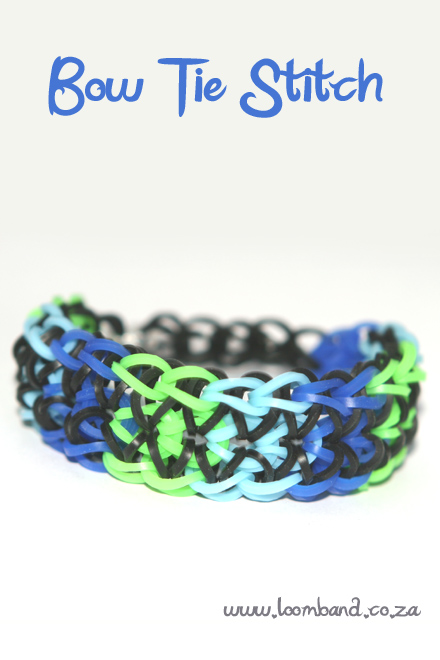 Bow tie stitch loom band bracelet tutorial