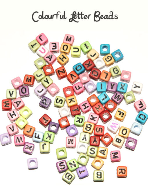 Colourful letter beads