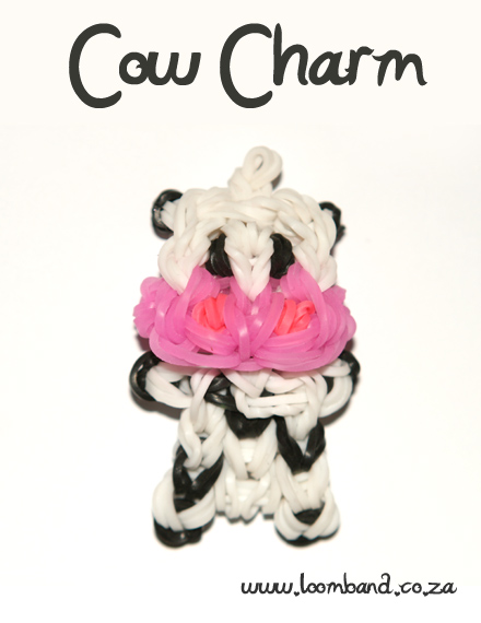 Cow charm loom band tutorial