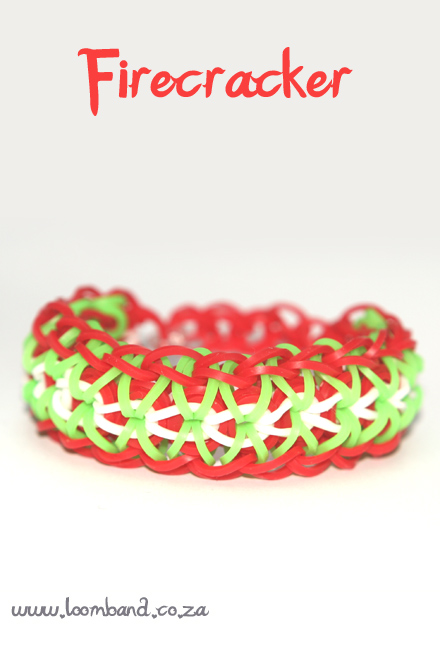 firecracker loom band bracelet tutorial