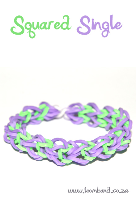 Squared single loom band bracelet tutorial