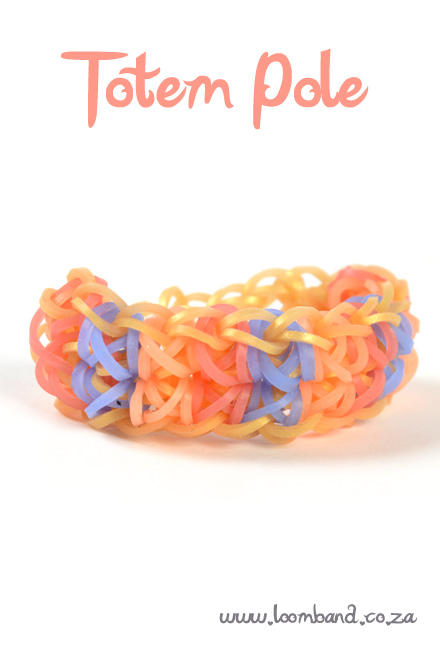 Totem pole loom band bracelet tutorial