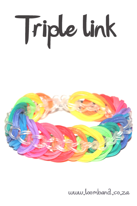 Triple link loom band bracelet tutorial