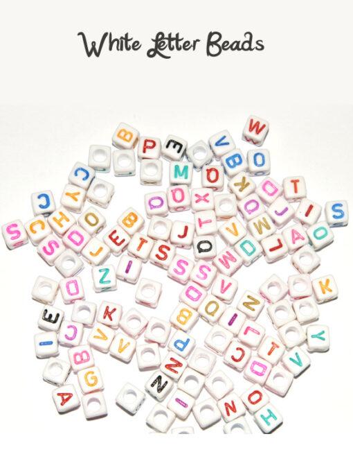White letter beads
