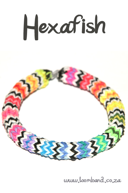 Hexafish loom band bracelet tutorial