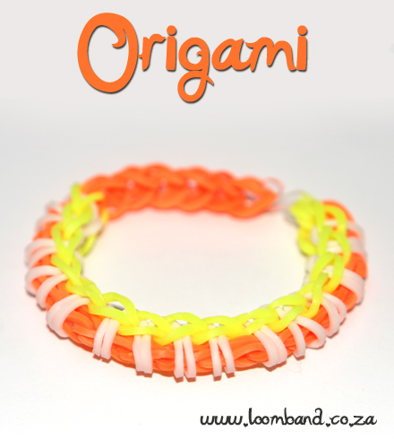 Origami loom band bracelet tutorial