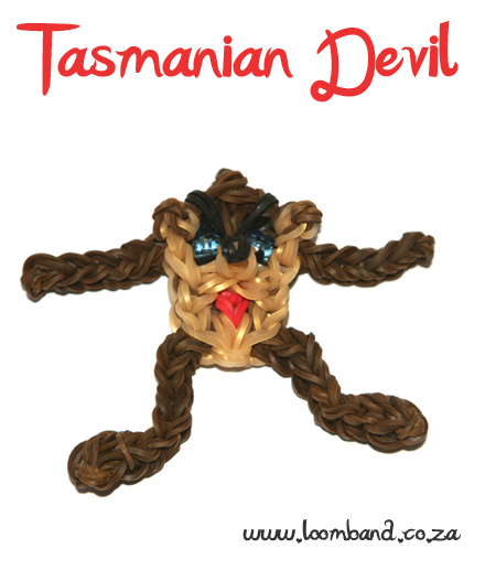 tasmanian devil loom band figurine tutorial