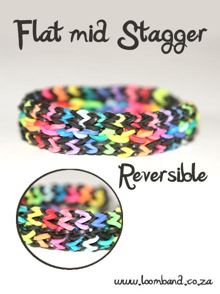 Flat mid stagger loom band bracelet tutorial