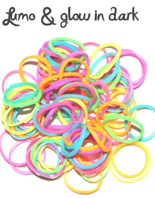 Glow in dark and lumo Rubber Bands