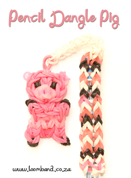 Pencil Dangle pig Loom Band Tutorial