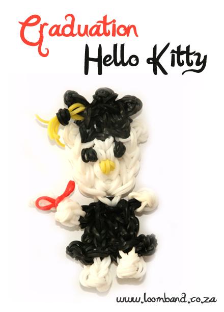 Hello kitty graduation Loom Band Doll Tutorial
