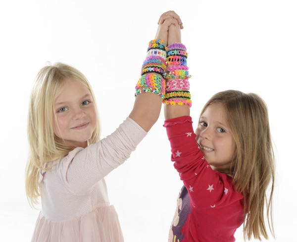 Girls with Loom band bracelets