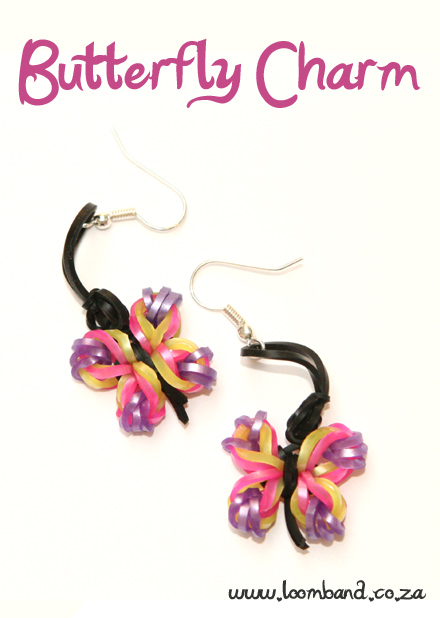 butterfly charm earrings loom band tutorial
