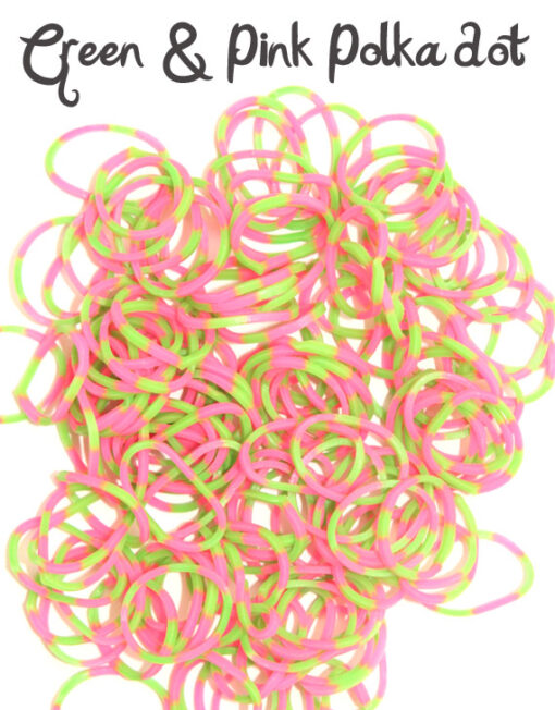 Pink and Green polka dot Loom Rubber Bands
