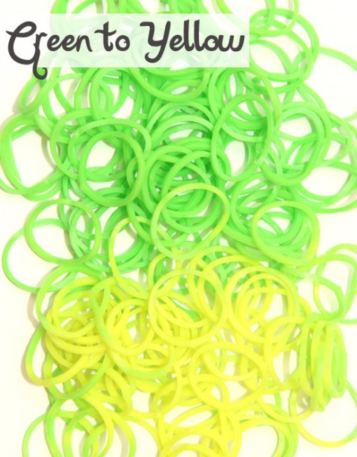 Green to Yellow temperature change rubber loom Bands