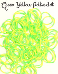 Yellow and Green polka dot Loom Rubber Bands