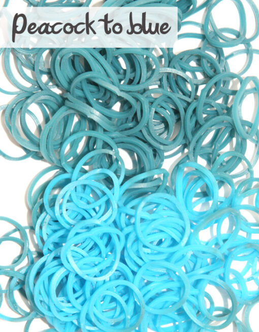 Peacock to blue temperature change rubber loom Bands