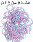 Pink and Blue polka dot Loom Rubber Bands