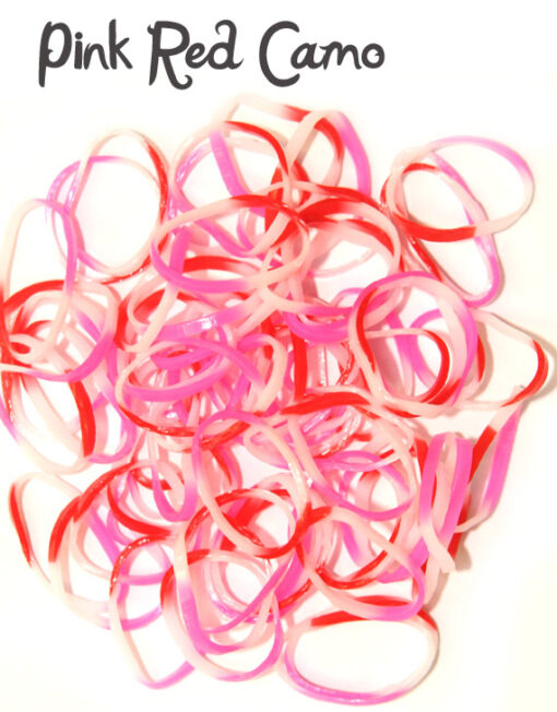 Pink red camo rubber loom bands