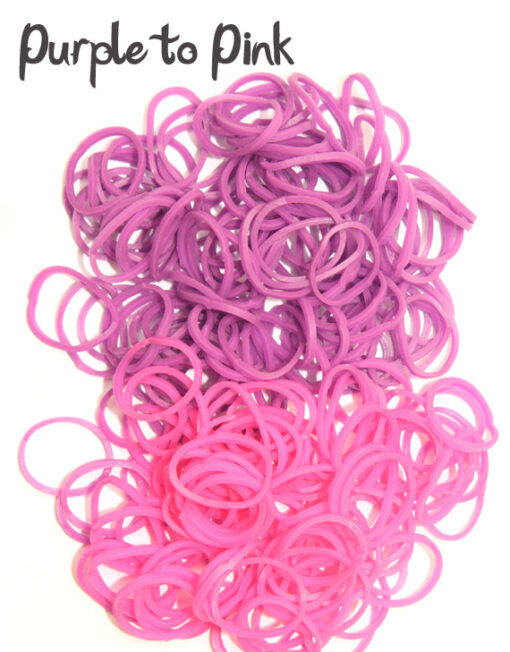 Purple to Pink temperature change rubber loom Bands