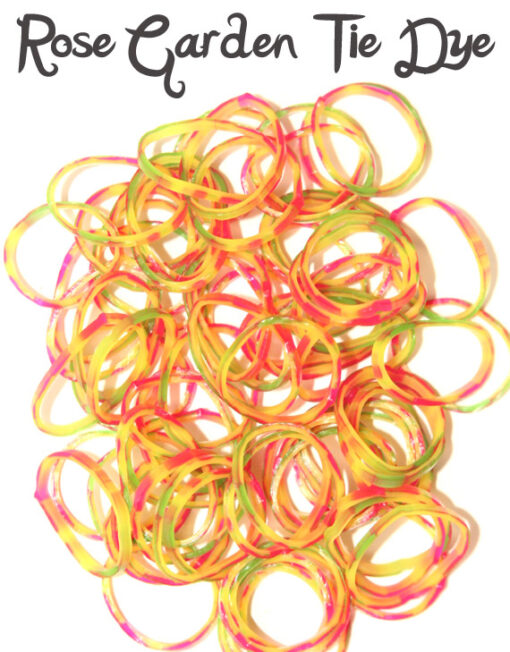 Rose Garden tie dye rubber loom bands