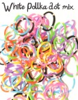White polka dot mix rubber loom bands