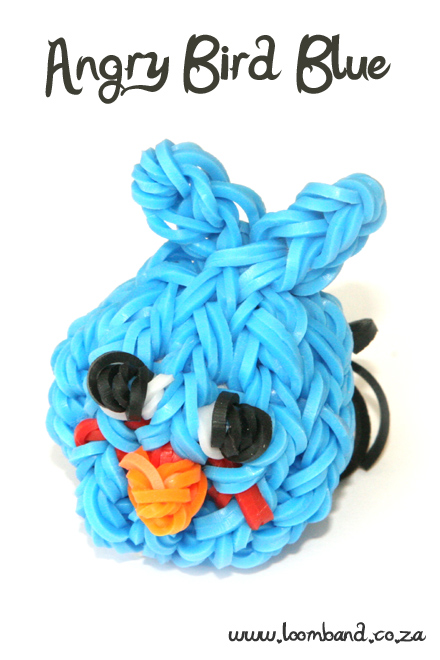 Blue Angry Bird Loom Band Charm tutorial
