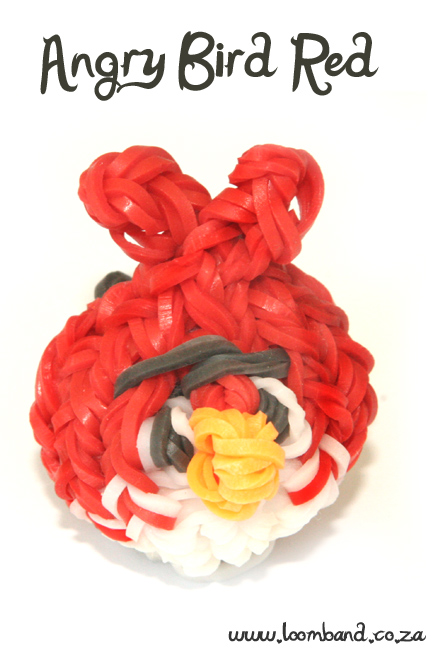 Red Angry Bird Loom Band Charm tutorial