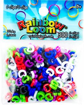 Rainbow Loom coloured C-clips 300pcs