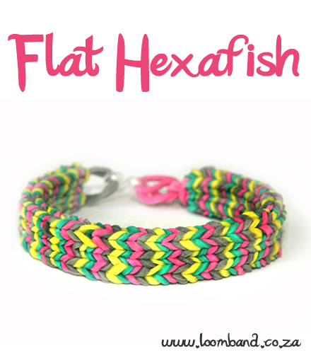 Flat Hexafish loom band bracelet tutorial
