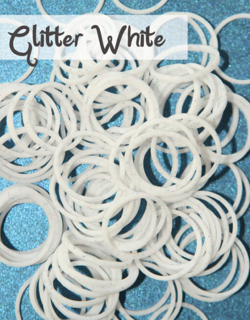 White Glitter Loom Silicone Bands