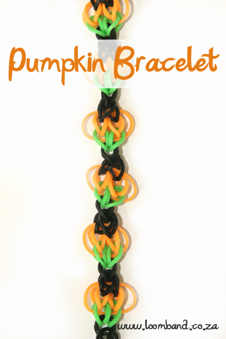 Pumpkin loom band bracelet tutorial
