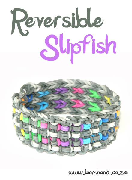 Reversible SlipFish loom band bracelet tutorial