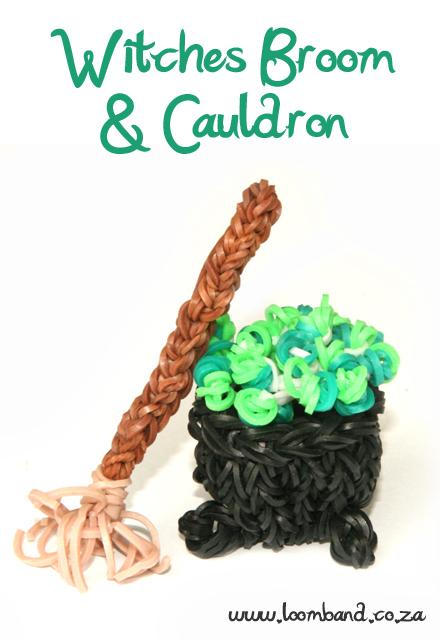 Witches Cauldron and broom loom band tutorial