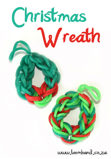 Christmas Wreath loom band charm tutorial-loomband