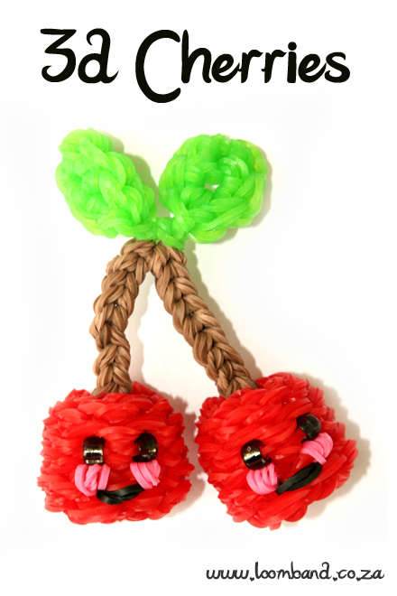 3D Happy Cherries loom band tutorial - loombands SA