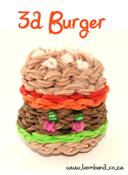 3D Happy Hamburger loom band tutorial