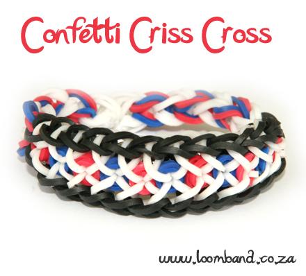 confetti criss cross rainbow loom bracelet