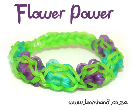 flower power rainbow loom bracelet