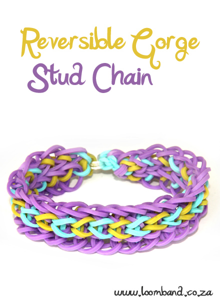 Reversible Gorge Stud Chain Loom Band Bracelet Tutorial