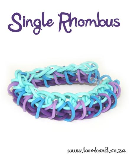 Single Rhombus Loom Band tutorial bracelet -LoombandSA