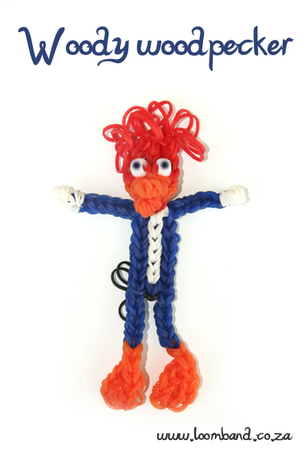 Woody woodpecker loom band figurine tutorial - LoombandSA