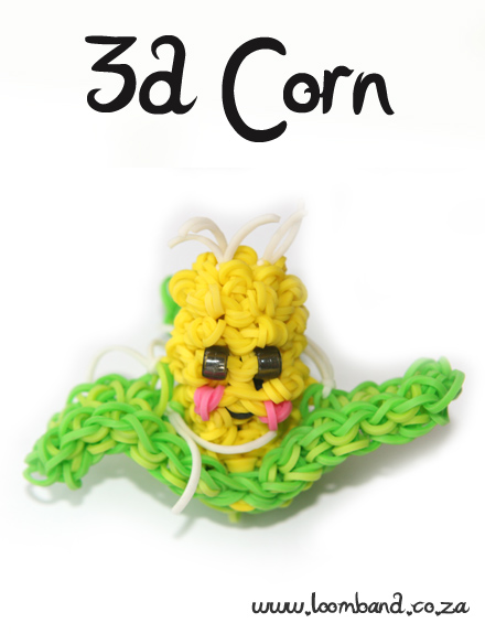 3-D Happy Corn Loom band tutorial - LoombandSA