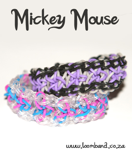 Mickey mouse loom band bracelet tutorial