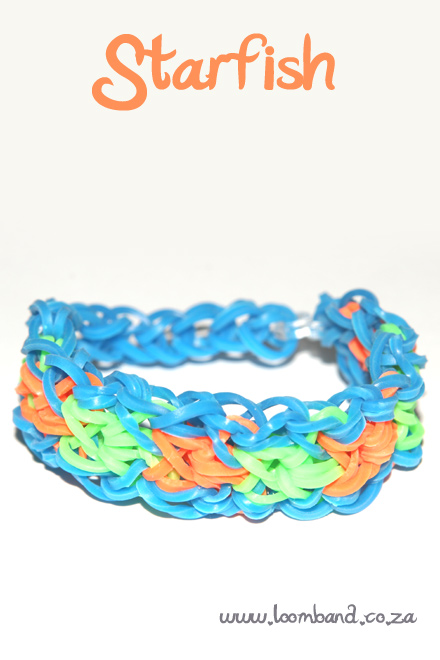 Starfish loom band bracelet tutorial